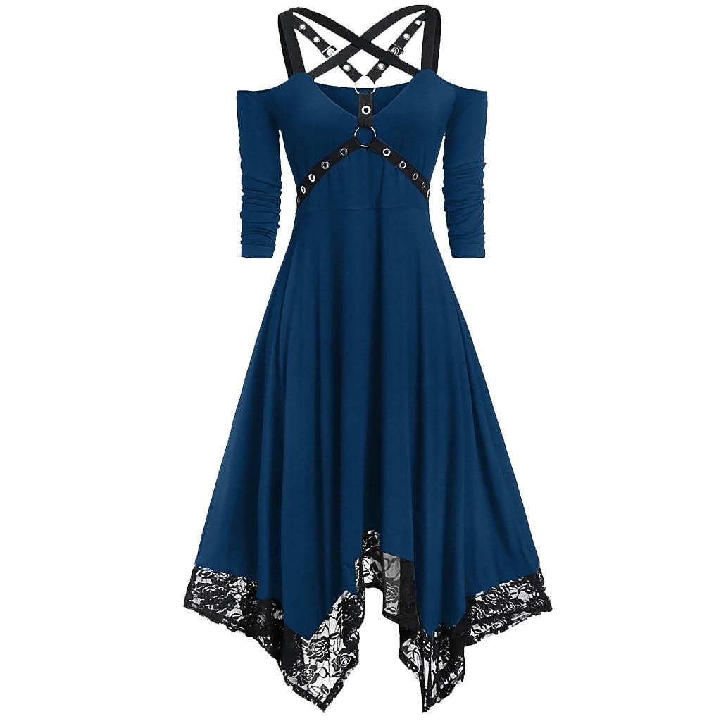 Women Dress Punk Plus Size Open Shoulder Lace Spaghetti Strap Long Sleeve Gothic Dress Ropa Mujer