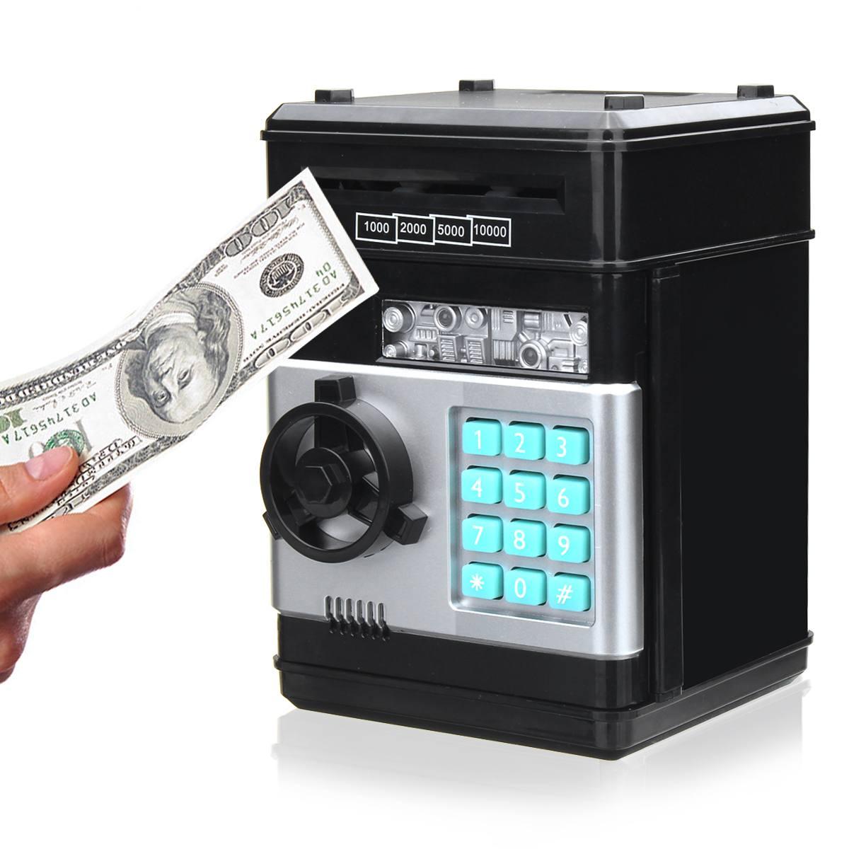 KIWarm Electronic Password Money Box Code Key Lock Automatic Coins Cash Saving Money Box Counter Mini Safe Box Child Gift