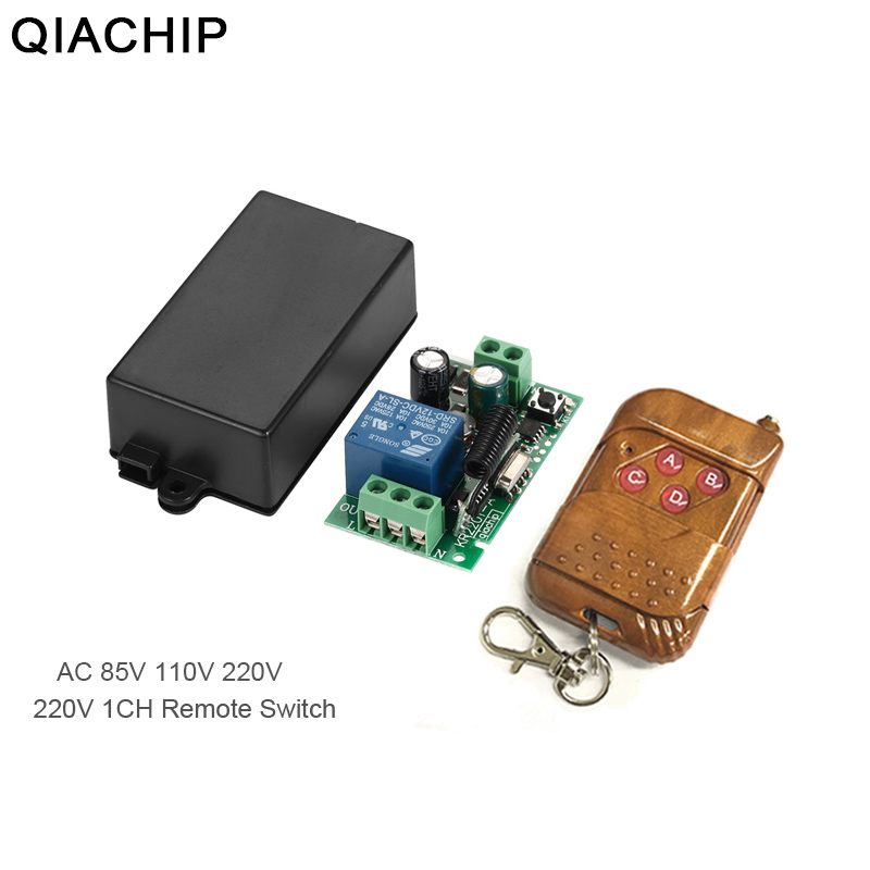 QIACHIP AC 110V 220V 1CH RF 433 Mhz Wireless Remote Control Switch Learning Code 1CH RF Relay Lamp Light Controller 433.92Mhz image