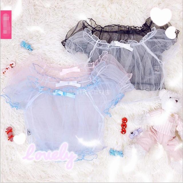 Kawaii Sweet Lolita Chiffon Shirt Puff Sleeve Transparent Short Sleeve Cos Lolita Cute Loli Shirt