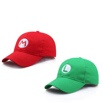 Anime Super Mario Hat Cap Luigi Bros Cosplay Baseball Costume Halloween Carnival Party Costumes Prop Gift Kids Adult Wholesale cosplay adults and kids super mario bros cosplay dance costume set children halloween party mario
