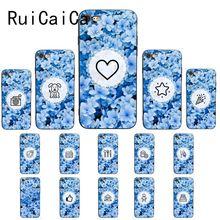 цена Ruicaica little blue flowers Illustration pattern Black TPU Soft Phone Case for iPhone 8 7 6 6S 6Plus X XS MAX 5 5S SE XR Cover онлайн в 2017 году