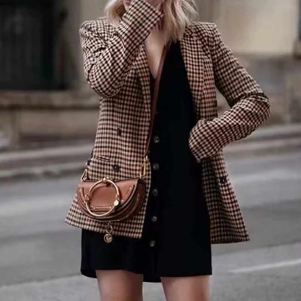 Women Plaid Blazer Coat Jacket Long Sleeve Double Breasted Vintage Coats Office Wear Jacket Outerwear Women Blazers Female 2019
