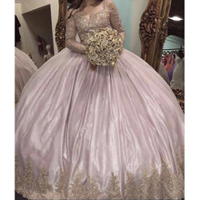 Plus Size Ball Gown Quinceanera Dresses 2020 Long Sleeves Off Shoulder Gold Lace Appliques Pink Sweet 16 Dress Prom Party Custom(China)