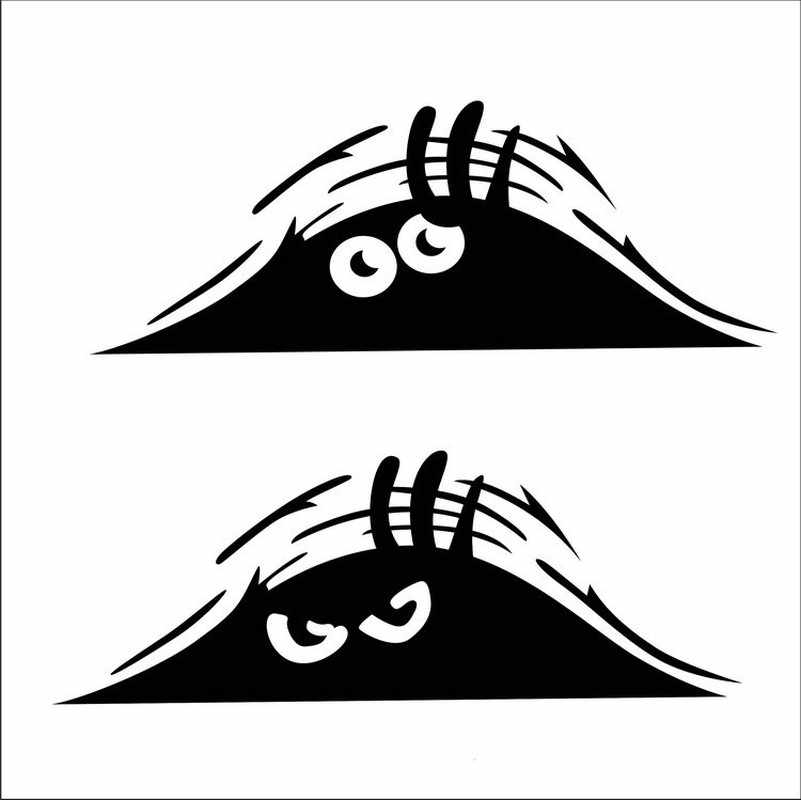 Car Stickers Funny Creative 3D Big Eyes Car Decal Black Sticker Peeking Monster 19x7CM Auto Products Car Accessories