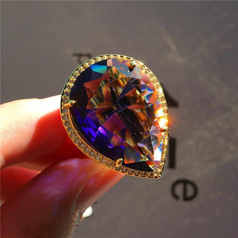Gorgeous ชายหญิง Big Water Drop แหวนผู้ชายผู้หญิงสีเหลืองทองแหวนหรูหราสีฟ้าสีม่วง Zircon หมั้นแหวน