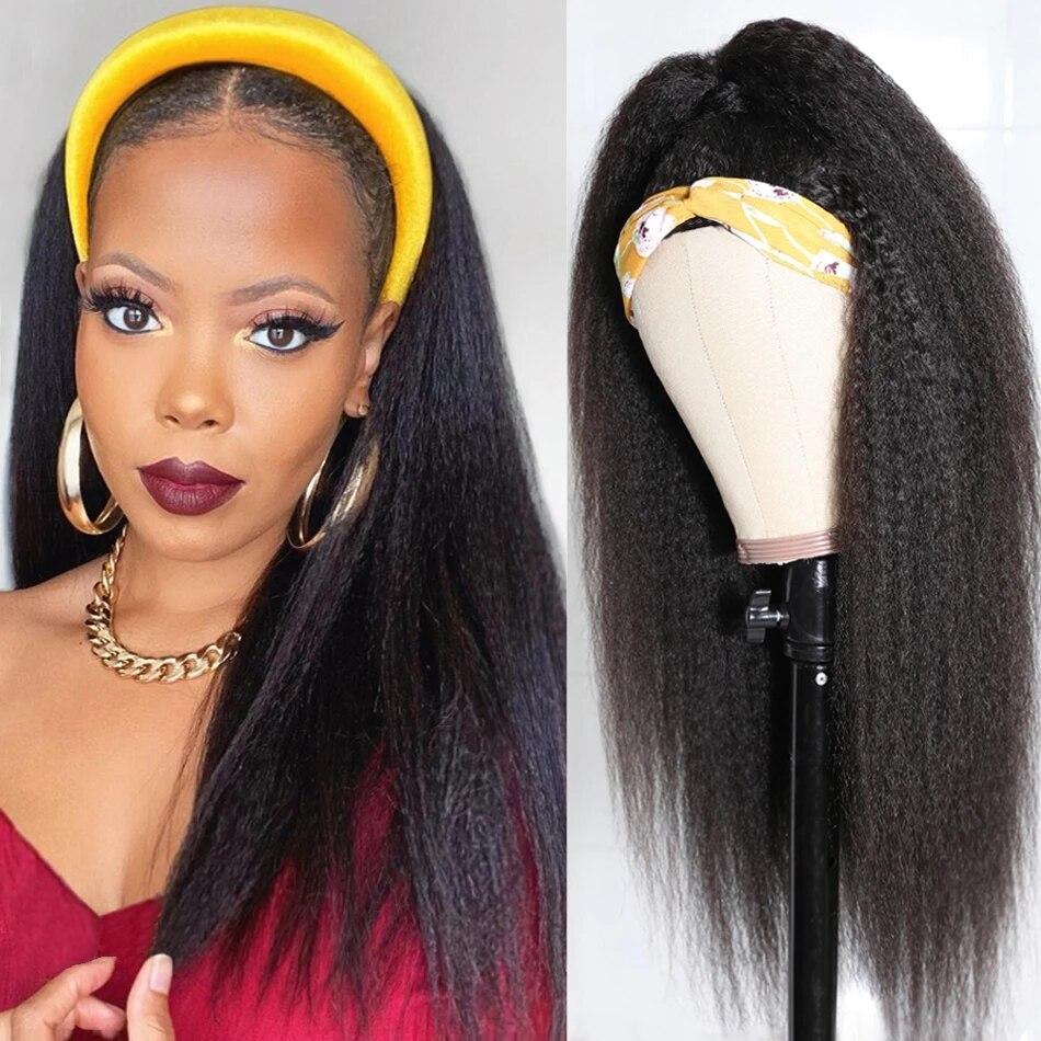 Peruca da cabeça perucas do cabelo humano brasileiro kinky em linha reta perucas de cabelo humano para as mulheres máquina feita peruca 180% glueless cachecol perucas remy