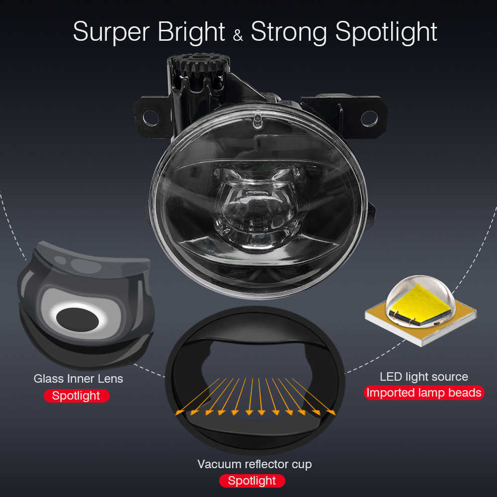 Cawanerl pour Opel Astra G H 1998-2010 voiture 90mm diamètre LED lentille antibrouillard diable Eye DRL feux diurnes H11 Socket 12V
