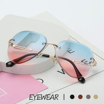Rimless metalowe okulary przeciwsłoneczne damskie marka projektant okulary przeciwsłoneczne odcienie gradientowe soczewki do cięcia damskie okulary kierowcy UV400 tanie i dobre opinie Anti-glare Anty-uv Pyłoszczelna Ochrona przed promieniowaniem 54mm 61mm 138mm 22mm 132mm HQY221