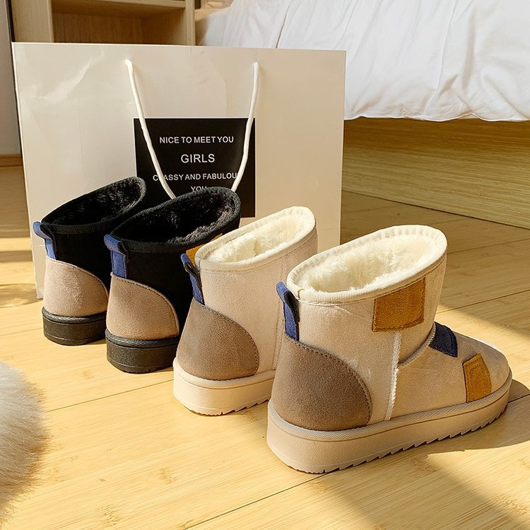 Snow boots female 2019 winter new suede color matching boots thickened low-heeled flat non-slip warm women's boots 74