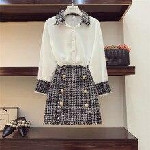 Высококачественная элегантная женская женский комплект 2 шт., твидовая шифоновая рубашка с кисточками, топ+ двубортная шерстяная мини-юбка-карандаш