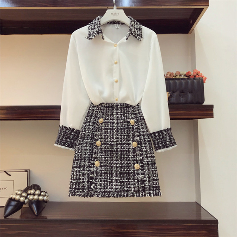 High Quality Elegant Women 2 Piece Set Women Tweed Tassels Chiffon Shirt Top + Double-Breasted Woolen Pencil Mini Skirt Suit