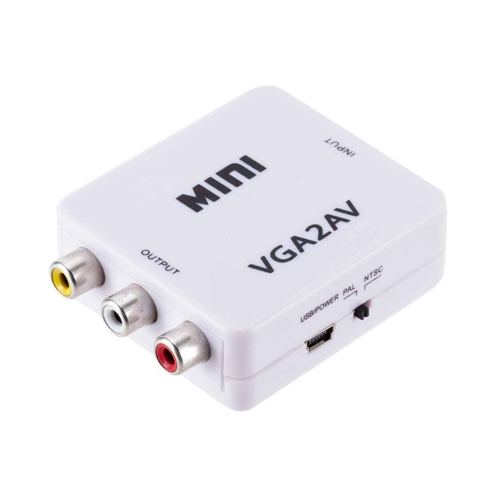 VGA в AV мини конвертер адаптер с 3,5 мм аудио 1080P VGA в AV HD конвертер для ПК в телевизор HD компьютер в телевизор