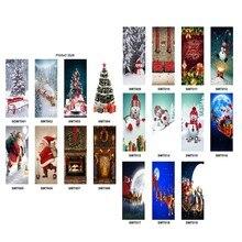 77cm/90cm decoração de natal 3d adesivos de parede boneco de neve papai noel natal árvore padrão impermeável porta adesivos porta decoração adereços