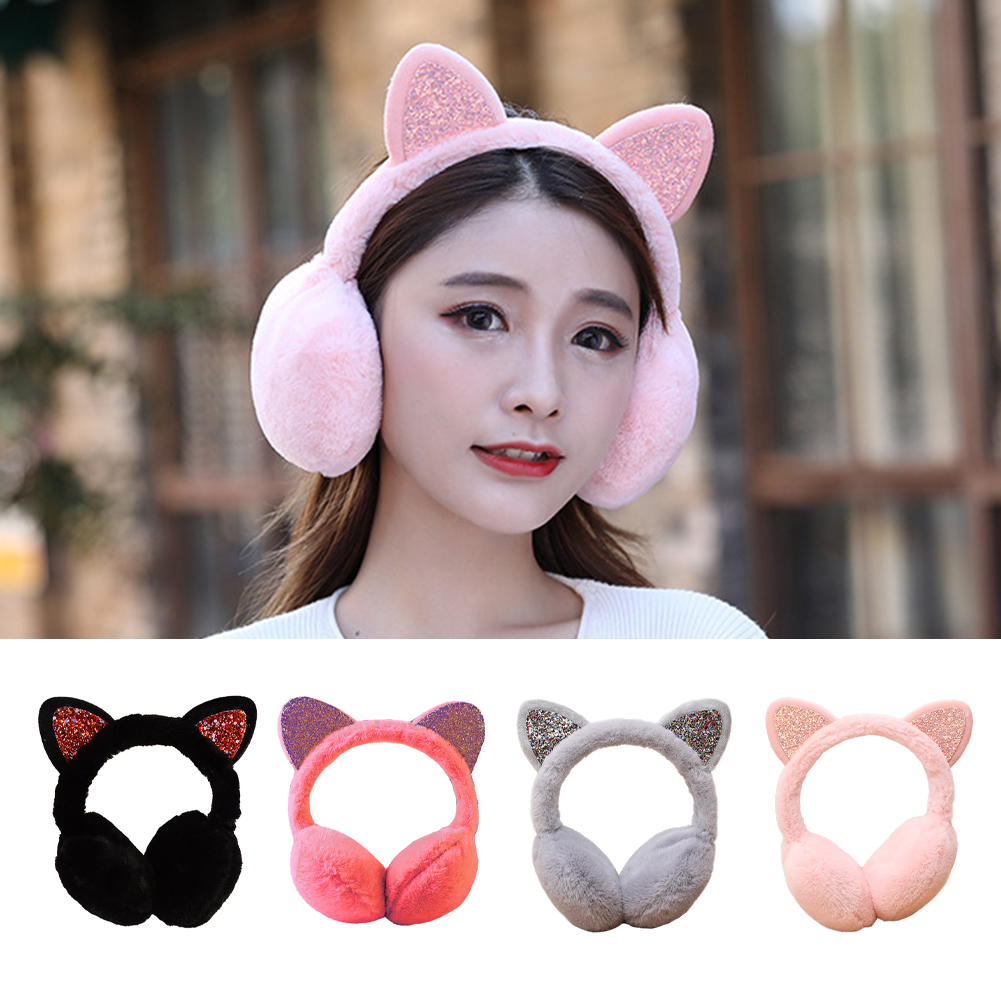 Brand New 2018 Fashion Women Girl Fur Winter Ear Warmer Earmuffs Cat Ear Muffs Earlap Glitter Sequin Earmuffs Headband Newest