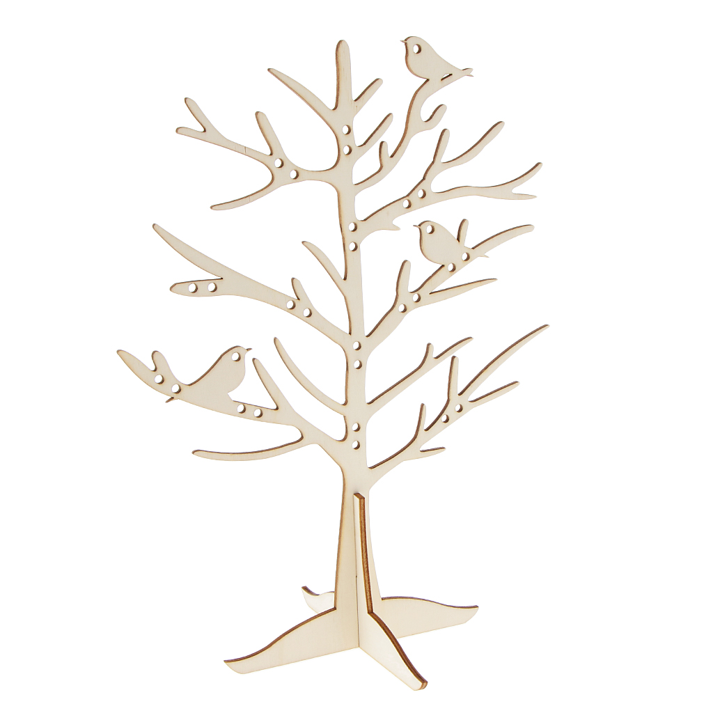 29 Holes Birds Wooden Tree Branch Jewelry Stand Display Earring Rings Holder