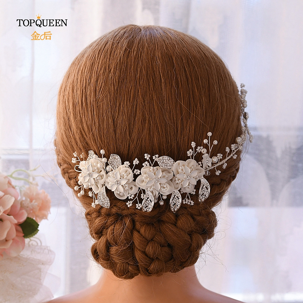 TOPQUEEN Alloy Leaf Bride Hair Accessories Wedding Headpieces Pearl And Crystal Hair Vine Organza Flower Bride Headband HP274