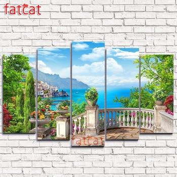 FATCAT European seaside landscape garden 5 Piece Large Diy Diamond Painting Full Square Round Diamond Embroidery decor AE1792