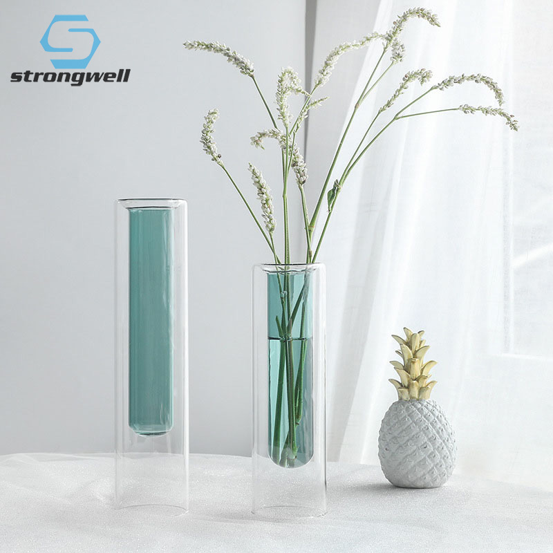 11.59US $ 45% OFF Strongwell Nordic Double Layer Glass Test Tube Vase Plants Holder Transparent Hydr...