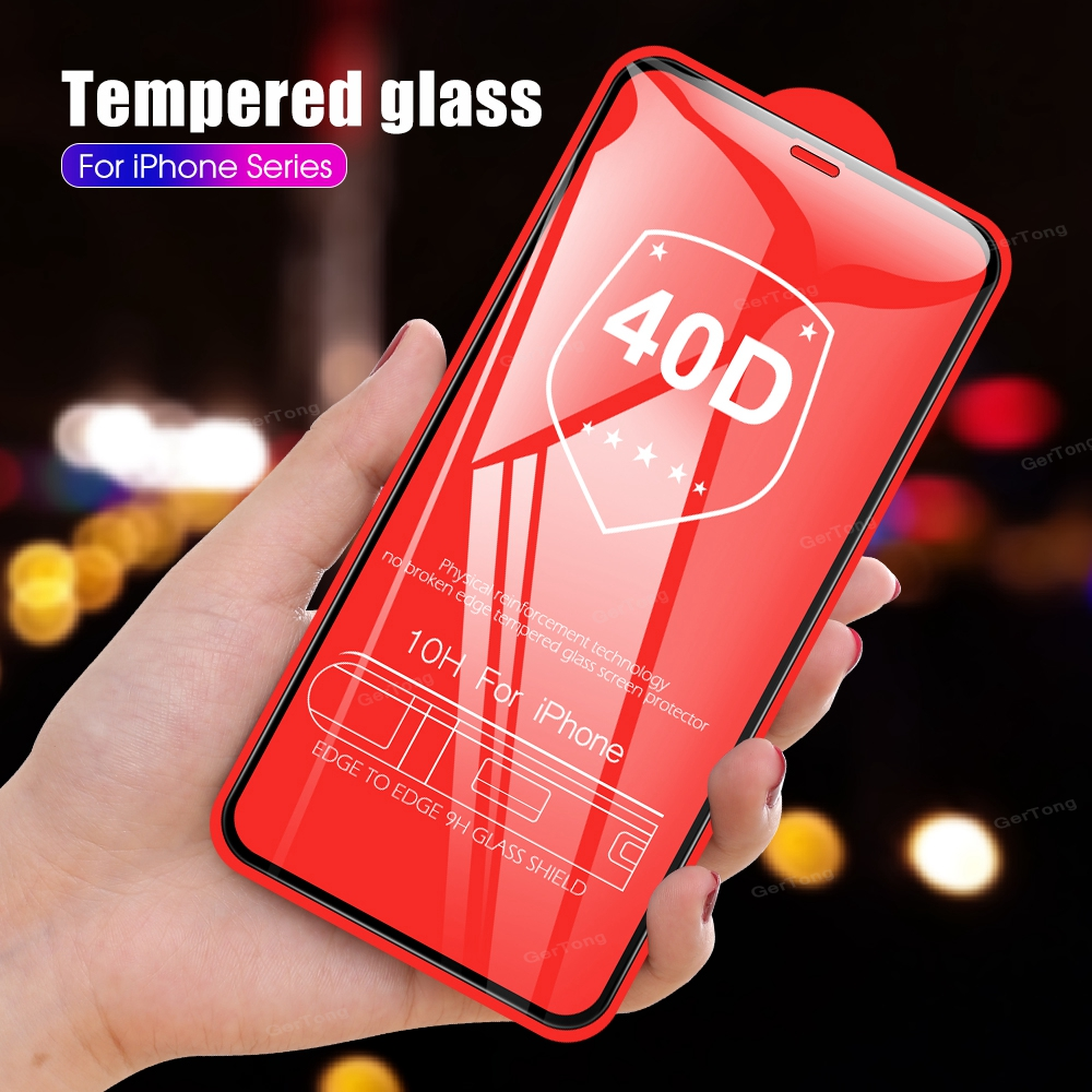 40D Full Cover Tempered Glass For IPhone 7 8 6S 6 Plus XS Max XR X 10 11 Pro Max Screen Protector 10H Protective Glass Film