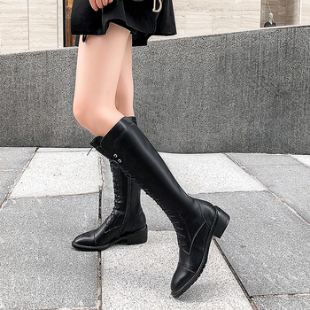 Black high boots boots straps low heel round head fashion casual knees ladies boots leather new boots large size boots фото