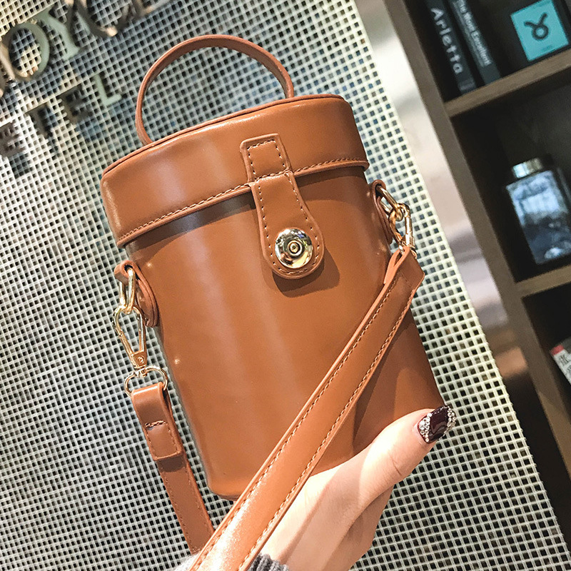 Bucket Bag 2018 New Fashion Lock Button Cylinder Small Bag Women's Single Shoulder Bag Women Bag Handbag