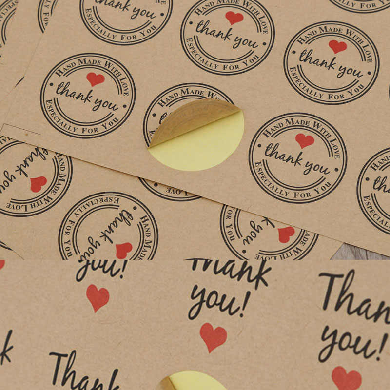 MissYe Store 60pcs heart thank you round sticker  seal labels craft paper custom for wedding  DIY Hand Made Gift Candy Paper Tag