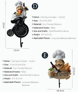 Image 3 - Creative מטבח קיר ווי שף צלמית קיר מתלה שרף קרפט לסלון מטבח אופי דגם קישוטי גינת בית