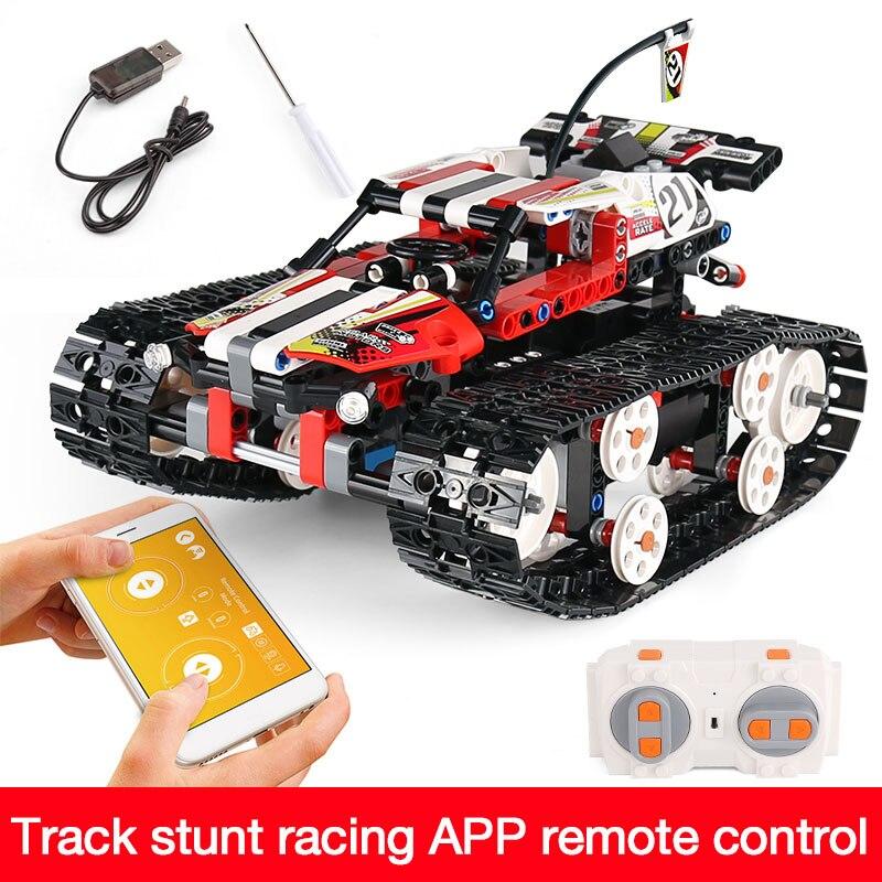 Функция питания от двигателя, Радиоуправляемый гусеничный гонщик, электрический, подходит для автомобиля, Legoing, 42065 скоростной автомобиль, строительный блок, кирпичи, модель, подарок для детей - Цвет: 13024-410pcs