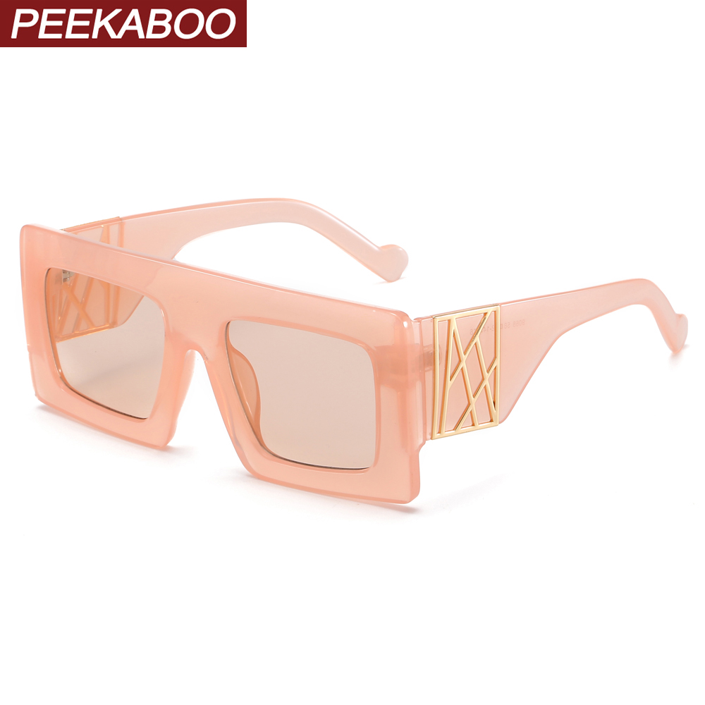 Peekaboo Pink Thick Frame Sunglasses Women Square Gift Items For Ladies Oversized Sun Glasses Female Leopard Pattern Uv400
