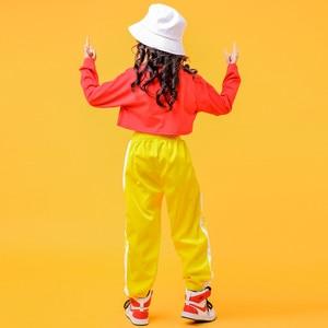 Image 5 - 2019 Childrens Jazz Dance Costumes Girls Hip Hop Wear White sweatershirt Yellow Pants Street Dance Performance Clothings