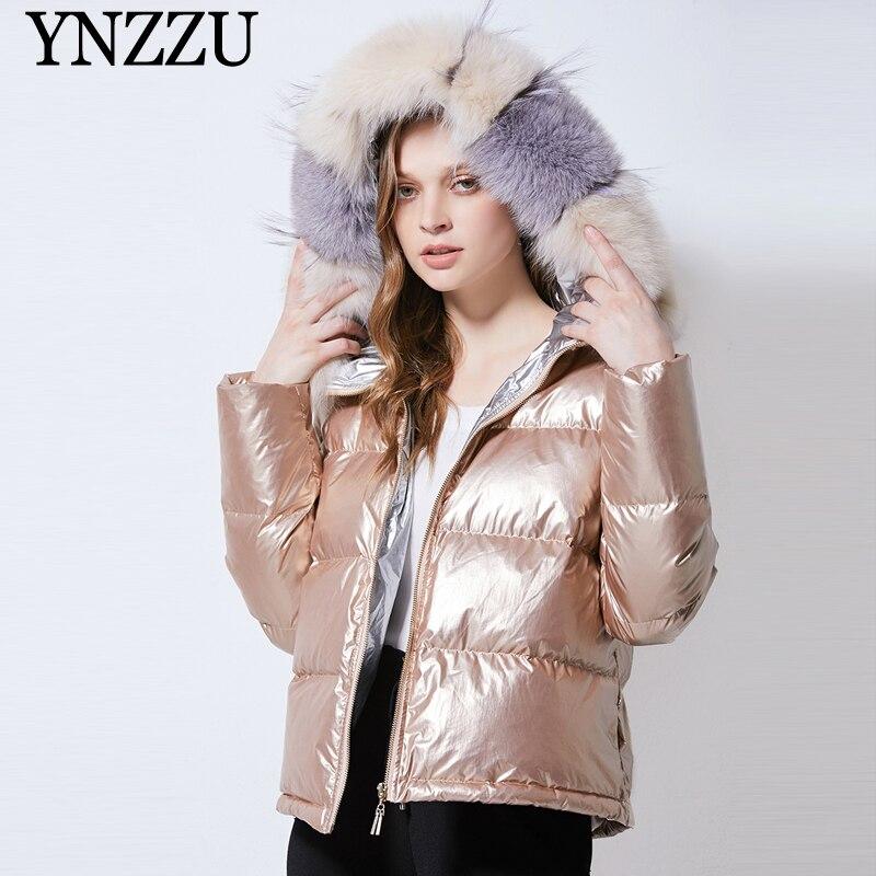 Real fur collar   Down   jacket Women 2019 Winter Hooded Loose Fashion   Down     coat   Casual Thick warm Female Outwear Short YNZZU 9O065