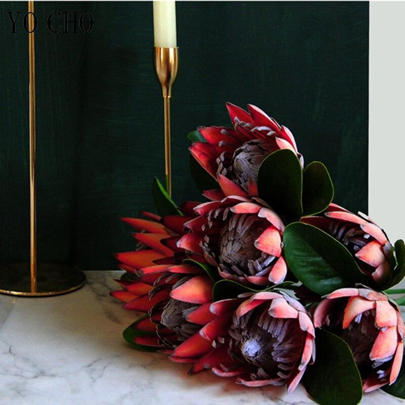YO CHO DIY Bouquet Artificial Flower Silk King Protea Flower Arrangement Fake Emperor Flowers Red Home Party Wedding Table Decor