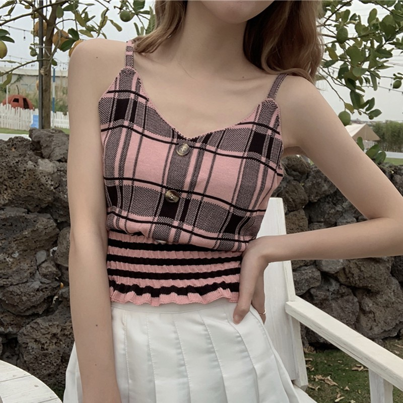 Women Plaid Knit Top Buttons Cropped Club Sexy Camisole Knitted Top Sleeveless Ruffles Knitted Sweet Chic Tee Shirts Crop Top 3