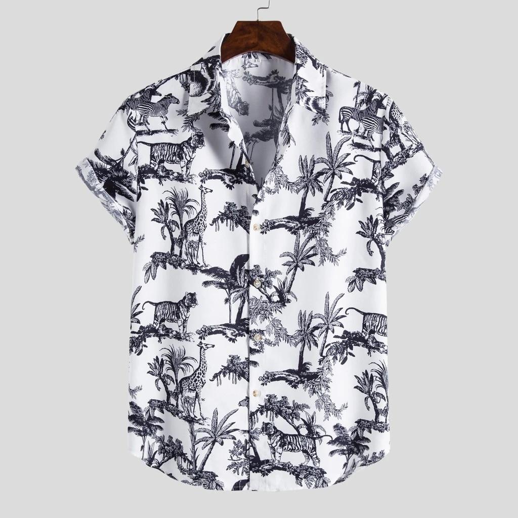 Mens Ethnic Short Sleeve Casual  Printing Hawaiian Shirt Blouse Tops