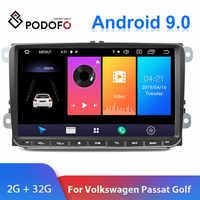 "Podofo 9"" Android 2din Car Radio GPS Navigation for VW Volkswagen SKODA GOLF 5 Golf 6 POLO PASSAT B5 B6 JETTA Seat Car Autoradio"