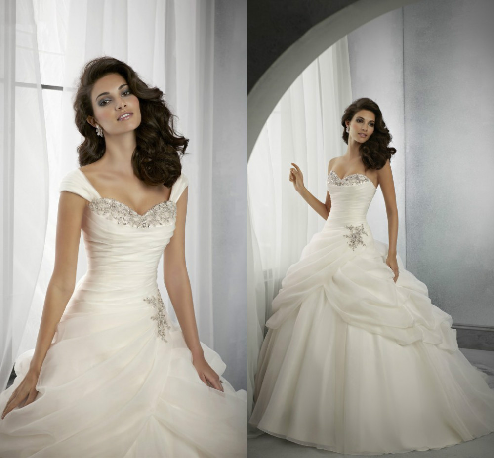 Free Shipping Vestido De Noiva Organza Ball Gown Sweetheart Beaded Luxury 2018 Plus Size Bridal Gown Mother Of The Bride Dresses