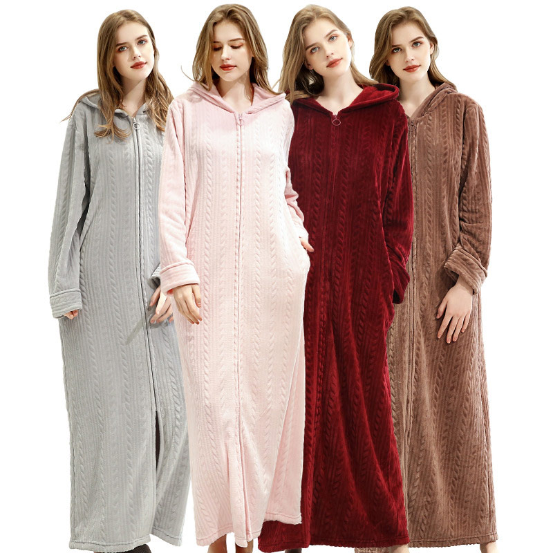 Flannel Zipper X-Long Bathrobe Women Spring Couple's Home Clothes 2020 Solid Long Sleeve Coral Velvet Hooded Robe For Ladies