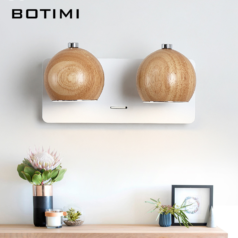 Image 5 - BOTIMI Modern LED Wall Lamp Wooden Wall Sconce Adjustable Luminaira Metal Bedside Lights White Reading Lighting Fixture-in LED Indoor Wall Lamps from Lights & Lighting