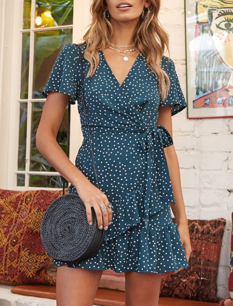 Dress Women 2020 Fashion Summer Dot Mini Dress v Neck Ruffles a Line Dresses Casual Short Sleeve Bandage Beach Dress Robe Femme