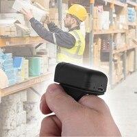 Mini tamanho sem fio bluetooth scanner de código de barras anel wearable leitor de código de barras ccd 1d 2d qr code scanner