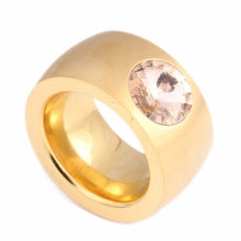Exaggerate Big Heavy Clear Crystal Gold-Color Stainless Steel Rings for Women or Man True Love Ring(China)
