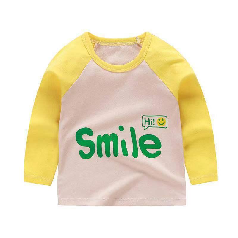 От 6 месяцев до 5 лет унисекс; сезон осень-зима; хлопковая футболка с длинными рукавами и героями мультфильмов; футболки для маленьких мальчиков и девочек; детская повседневная одежда; одежда с круглым вырезом - Цвет: Q45