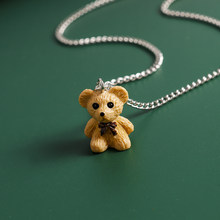 Colorful Bowknot Bear Necklaces for Women Cute Silver Color Bear Chain Necklaces Pendants Chokers Female Jewelry