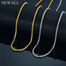 "Newall ""O"" Chain 3mm Gold/Silver/Black Stainless Steel Long colar Choker hip hop Necklace Men women unisex Fashion Jewelry(China)"