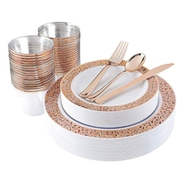 New 25 Sets of Rose Gold Cup Plastic Dish Fork Knife Spoon Disposable Transparent Tableware Set Party Supplies