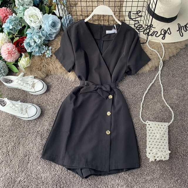 V-neck Beach Playsuits Women Vintage With Belt High Waist Wide-legged Shorts Pants Slim Holiday Jumpsuits