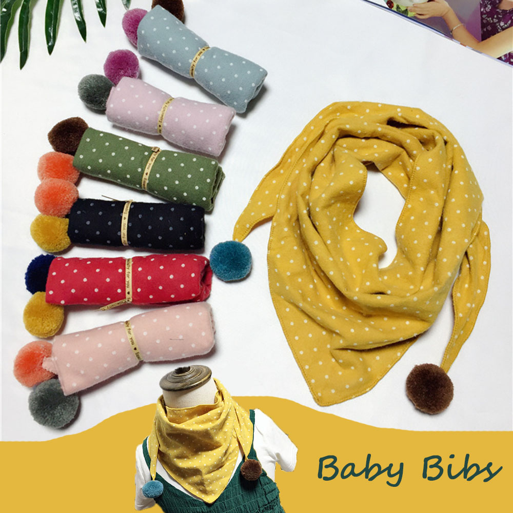 Cute Cotton Baby Bibs Dot Triangle With Colorful Ball Baby Girl Scarf Candy Color Kids Neck Collar Scarves For Baby Winter Gifts