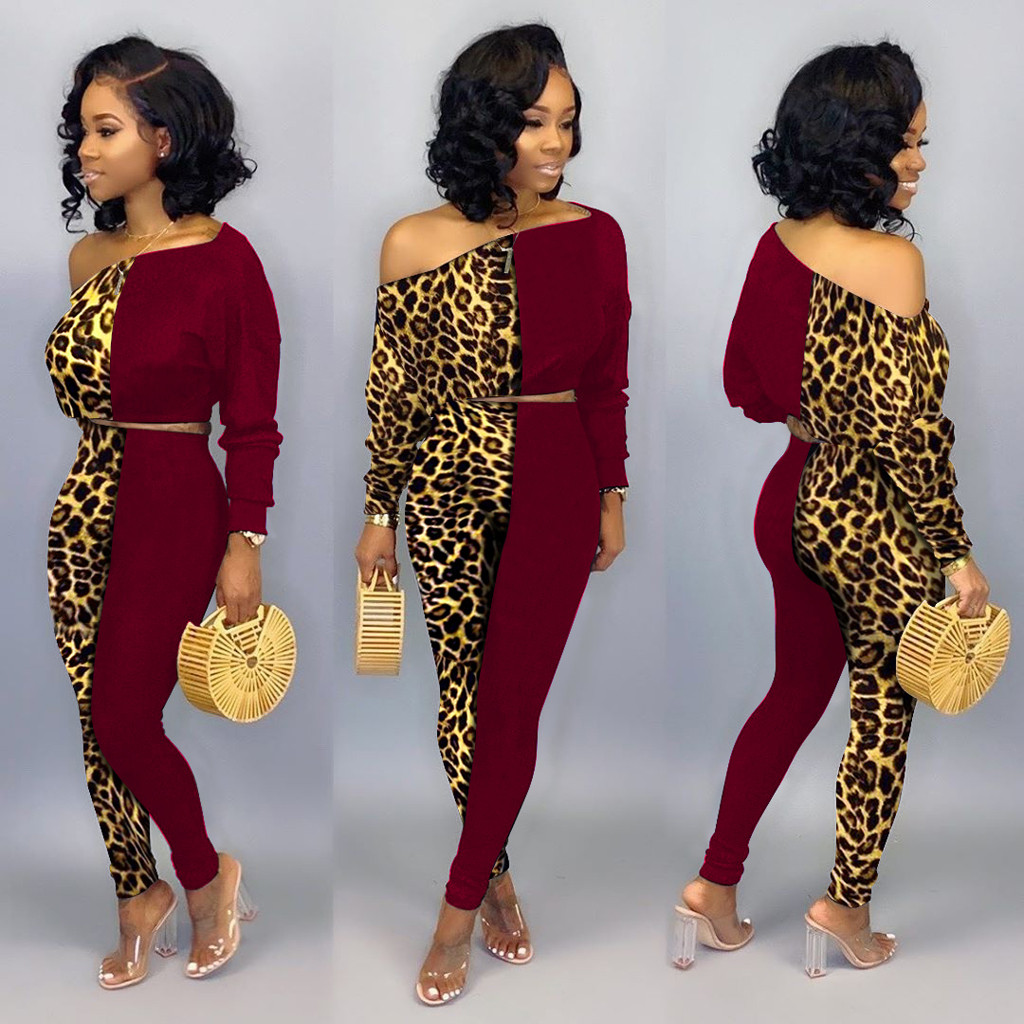 WOMAIL Sexy Leopard Long Sleeve Women Suit Jumpsuit Patchwork Knitted bodysuit High Collar Body 2020 Bodysuit Women