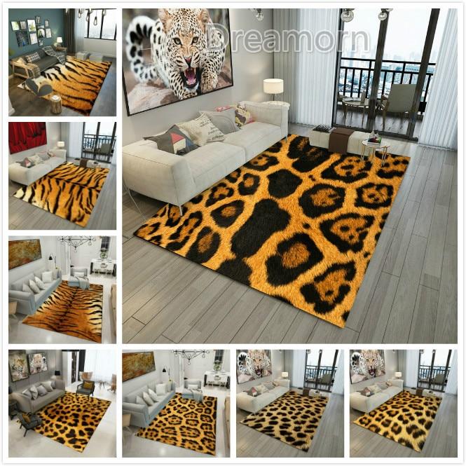 Brown Animal Pattern Rug Doormat Fur Leather Leopard Print Area  Tiger  Living Room Bedroom Carpet Floor Mat